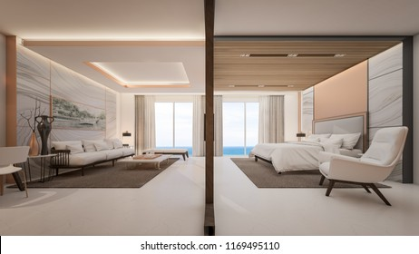 Luxury suite room are separate living room and take view of sea , 3d rendering