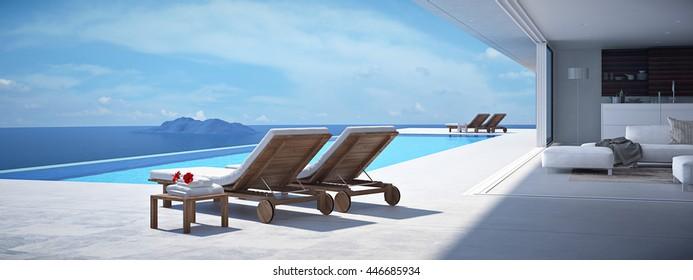 luxury swimming pool. 3d rendering
