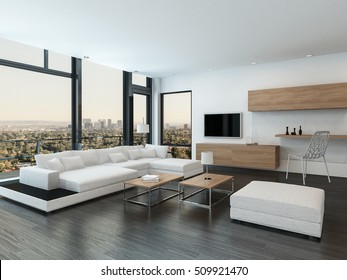Luxury urban condominium or penthouse living room interior with a modular white suite and huge view windows with a patio overlooking the city, 3d rendering