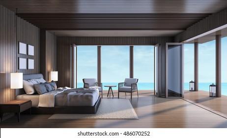 Luxury Villa Master Bedroom / 3D rendering interior