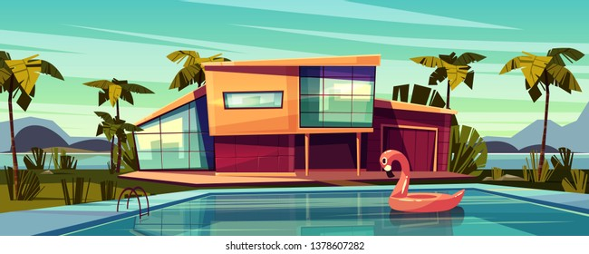 Luxury villa on coast, foreign residence in exotic country, expensive mansion in tropics cartoon illustration. High-class house exterior with inflatable pink flamingo swim ring in swimming pool