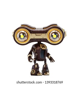 Luxury vintage wooden toy-binoculars with golden elements, 3d illustration