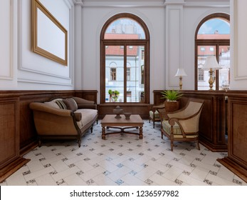 Luxury waiting area in a five-star hotel with massive wooden furniture. 3d rendering.