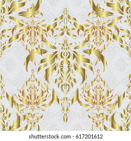 Luxury wallpaper on gray. Seamless texture in Eastern style. Ornate golden pattern for design. Ornament for invitations, birthday, greeting cards, web pages. Floral oriental decor.