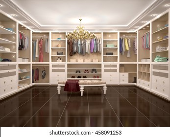luxury wardrobe in modern style. 3d illustration.