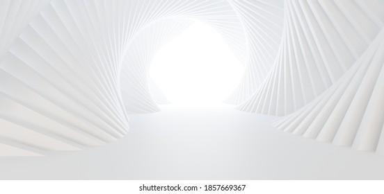 Luxus weißer abstrakter architektonischer minimalistischer Hintergrund. Zeitgenössischer Showroom. Moderner Messestand. Leere Galerie. Hintergrundbeleuchtung. Polygonales Grafikdesign. 3D-Illustration und Rendering.