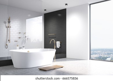 Luxury white bathroom interior with white and black tiles, a white tub and a shower. Corner. White floor. 3d rendering mock up
