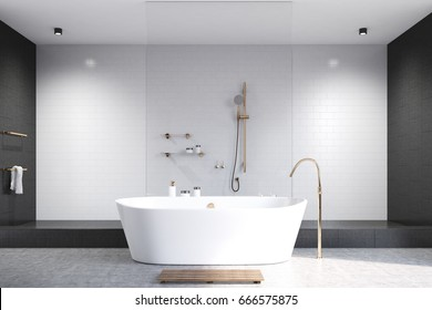 Luxury white bathroom interior with white and black tiles, a white tub and a shower. White floor. 3d rendering mock up