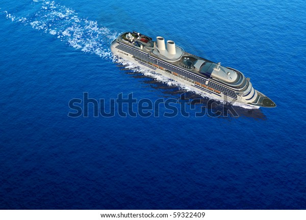 luxury white cruise ship shot bird's eye view at water level on a clear day with calm seas