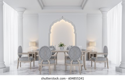 Luxury white dining room 3D rendering Image.There are decorated with arches indian style,doric column, white marble floor and hidden warm light