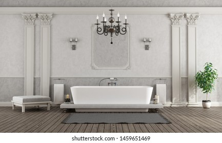Luxury white and gray home bathroom with elegant bathtub - 3d rendering