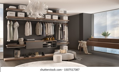Luxury white and gray modern bedroom with walk-in closet with clothing, decor, parquet floor, panoramic window with winter panorama, carpet, pouf, minimal architecture interior design, 3d illustration