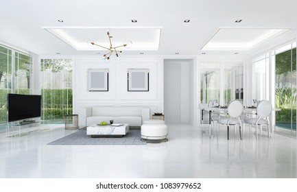 The luxury white living and dining room interior design and green garden background / 3D rendering