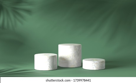 luxury white Marble block, circle, cylinder podium shadow leaves in green natural background. concept scene stage showcase, product, perfume, promotion sale, banner, presentation, cosmetic. 3D render