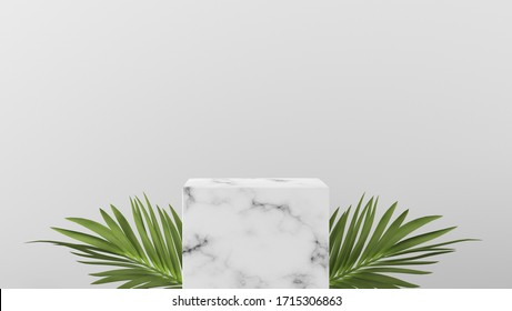 luxury white Marble box, block, square podium cube green leaves in white marble background. concept scene stage showcase, product, perfume, promotion sale, banner, presentation, cosmetic. 3D render
