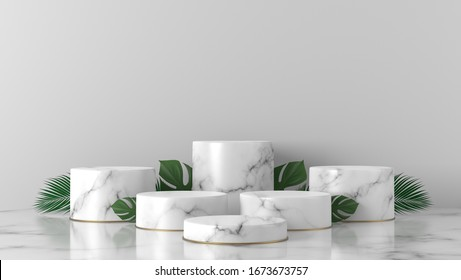 luxury white Marble Cylinder, Circle podium, gold ring and monstera, palm leaves in white background. concept scene stage showcase, product, promotion sale, banner, presentation, cosmetic. 3D render