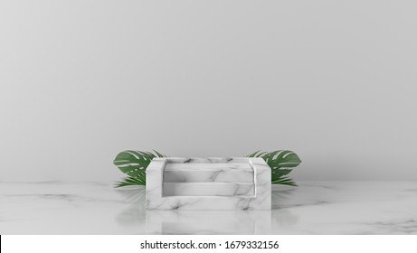 luxury white Marble stair square, box, block podium, gold ring and palm leaves in white background. concept scene stage showcase, product, promotion sale, banner, presentation, cosmetic. 3D render