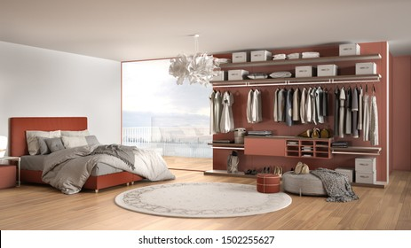 Luxury white and red modern bedroom with double bed and walk-in closet, clothing, parquet, panoramic window with winter panorama, carpet, pouf, minimal architecture interior design, 3d illustration