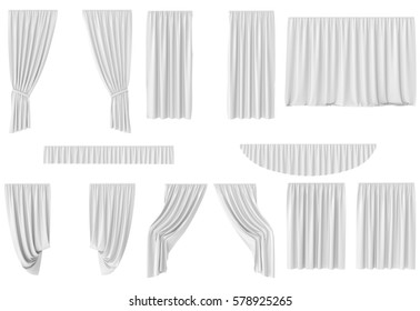 Luxury white silk velvet curtains decoration design, ideas, set collection isolated on white background, 3d rendering