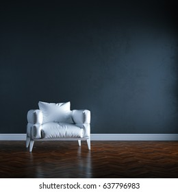 Luxury white sofa in black wall interior. 3d render.