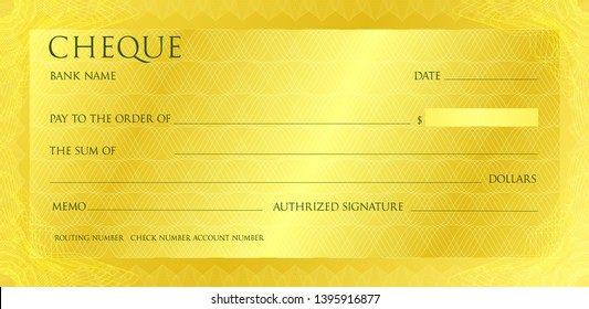 Luxury yellow gold cheque template with vintage guilloche. Check with abstract watermark, border. Gold background for banknote, money design, bank note, voucher, gift certificate, coupon, currency