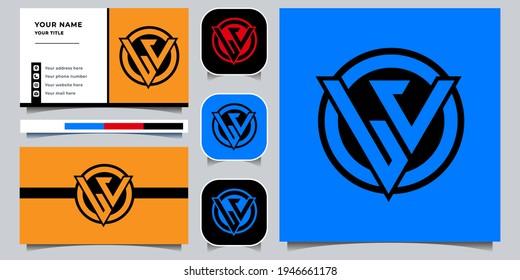 LV logo design set monogram concept with business card