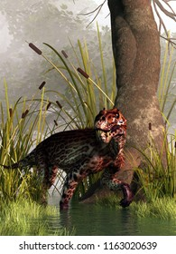 A Lycaenops, a type of gorgonopsid, a prehistoric creature from the Permian era, before even the time of the dinosaurs, hunts through swampy wetlands. 3D Rendering