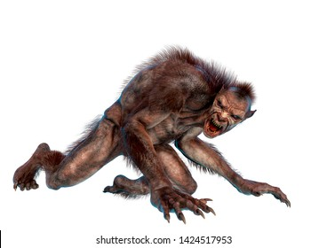 lycan monster is crawling in a white background. This werewolf in clipping path is very useful for graphic design creations, 3d illustration