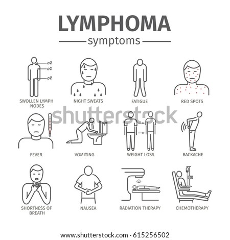 lymphoma signs lymphatic cancer symptoms line stock illustration