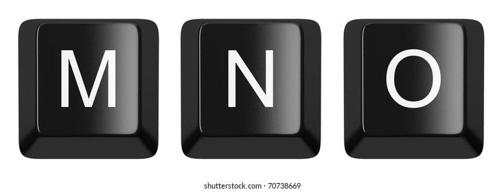 M, N, O black computer keys alphabet isolated on white