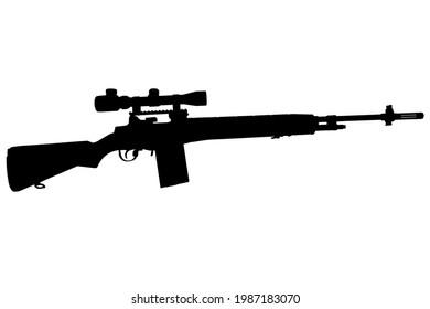 M14 based sniper rifle black silhouette