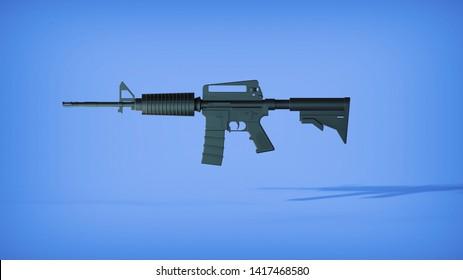 M16 Assault Rifle on blue background. 3D Illustration, 3D Rendering.
