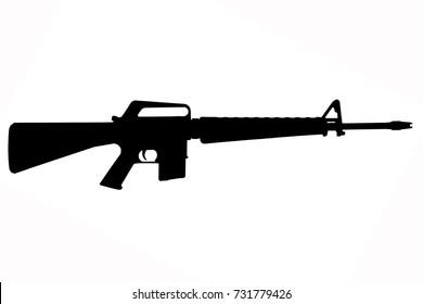 M16 rifle Vietnam War period black silhouette