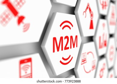M2M concept cell blurred background 3d illustration