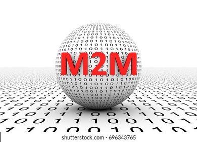 M2M conceptual sphere binary code 3d illustration