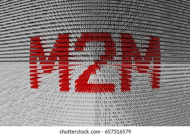 M2M in the form of binary code, 3D illustration