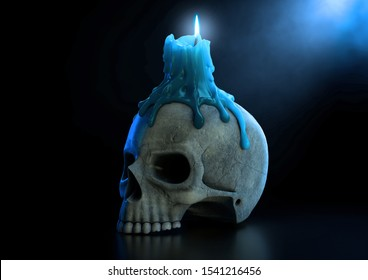 A macabre concept showing a human skull topped with a melting candle with a blue flame on an isolated dark studio background - 3D render