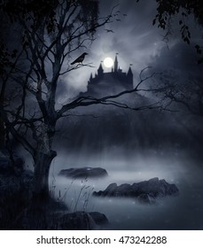 Macabre swamp at night with a castle in the back