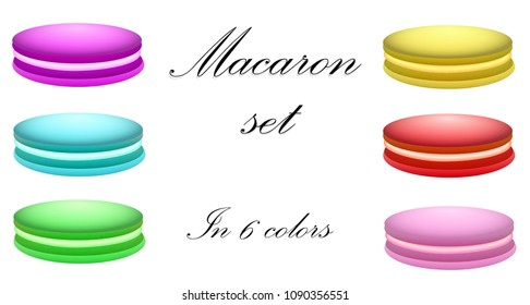 Macaron set in 6 colors, on white isolated background.
