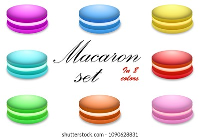 Macaron set in 8 colors, on white isolated background.