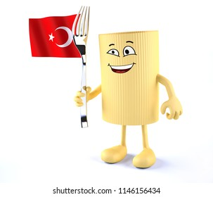 macaroni pasta with arms, legs, fork and Turkish flag, 3d illustration