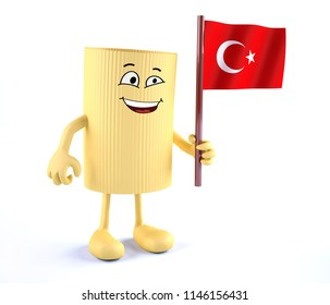 macaroni pasta with arms, legs and Turkish flag on hand, 3d illustration