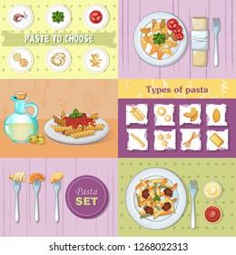 Macaroni pasta spaghetti noodles dinner banner concept set. Cartoon illustration of 6 macaroni pasta spaghetti noodles dinner banner concepts for web