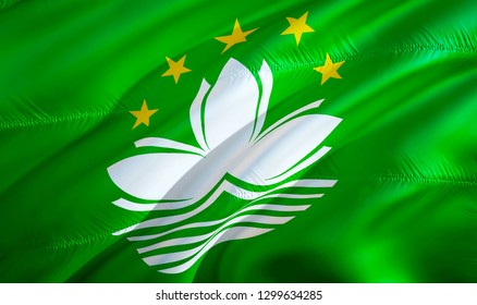 Macau flag. 3D Waving flag design. The national symbol of Macau, 3D rendering. Macanese National colors. National flag of Macau for a background. Macau sign on smooth silk