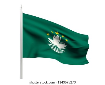 Macau flag floating in the wind with a White sky background. 3D illustration.