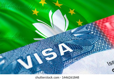 Macau visa document close up, 3D rendering. Passport visa on Macau flag. Macau visitor visa in passport. Macau multi entrance visa in passport. Close up of a document and passport