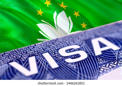 Macau Visa Document, with Macau flag in background, 3D rendering. Macau flag with Close up text VISA on USA visa stamp in passport.Visa passport stamp travel Macau business