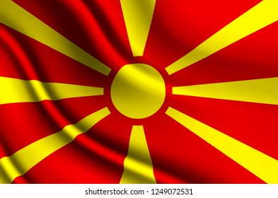 Macedonia 3D waving flag illustration. Texture can be used as background.