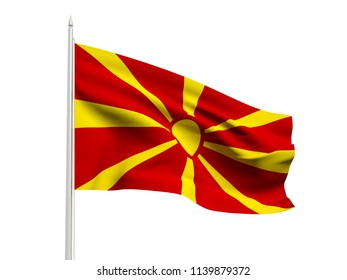 Macedonia flag floating in the wind with a White sky background. 3D illustration.