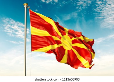 Macedonia flag on the blue sky with cloud. 3D illustration